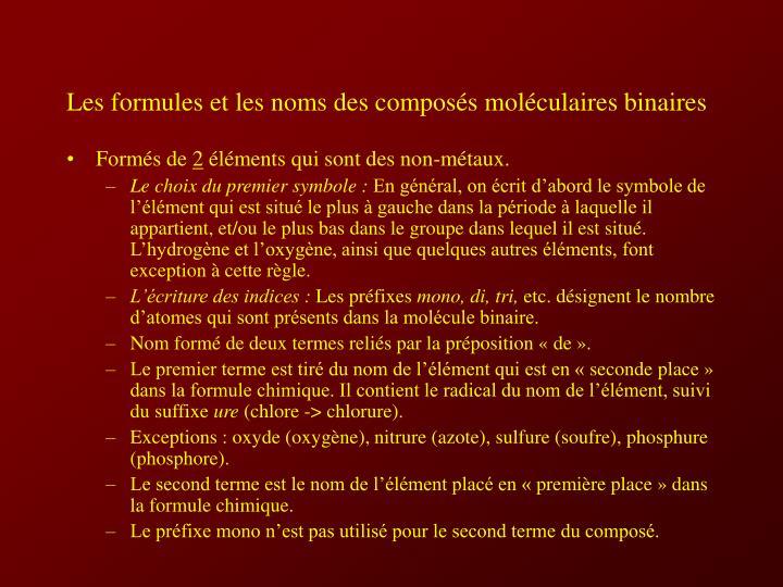 Les formules et les noms des composés moléculaires binaires