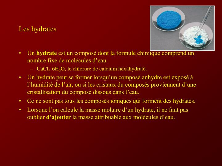 Les hydrates