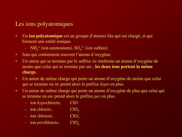 Les ions polyatomiques