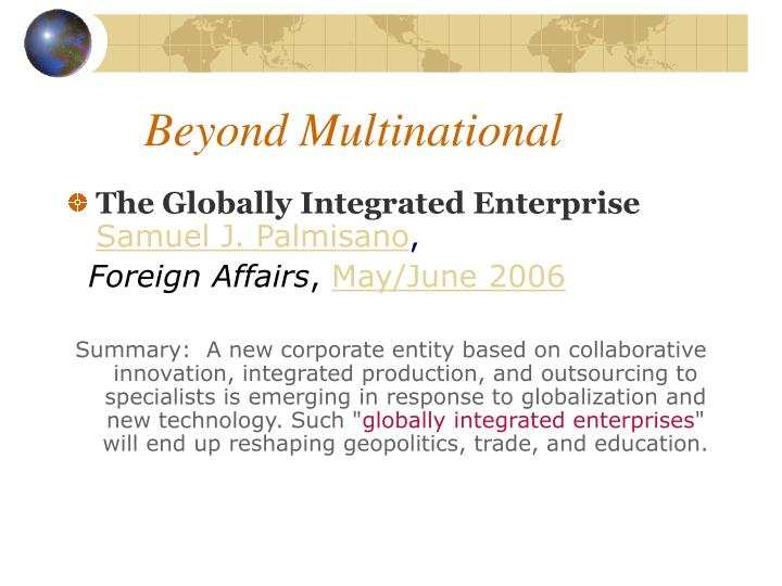 Beyond multinational