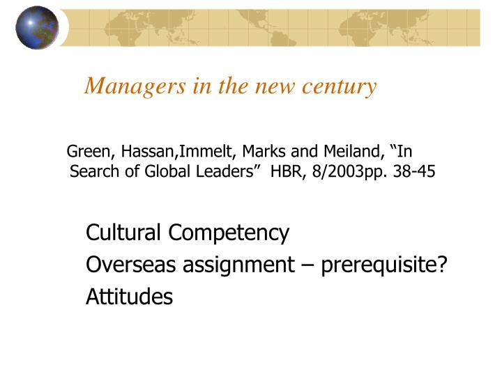 Managers in the new century