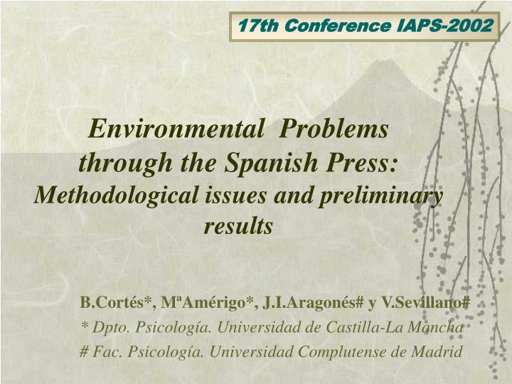 Environmental problems through the spanish press methodological issues and preliminary results