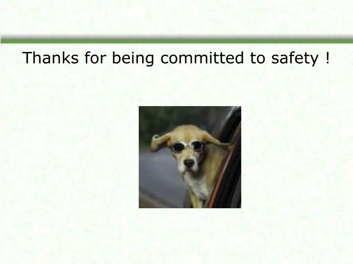 Thanks for being committed to safety !