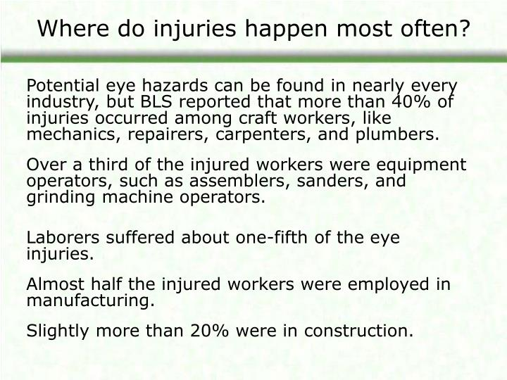 Where do injuries happen most often?