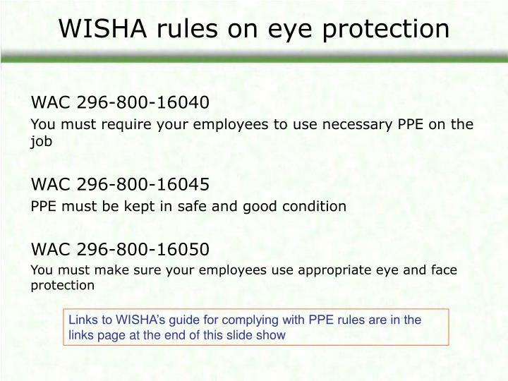 WISHA rules on eye protection