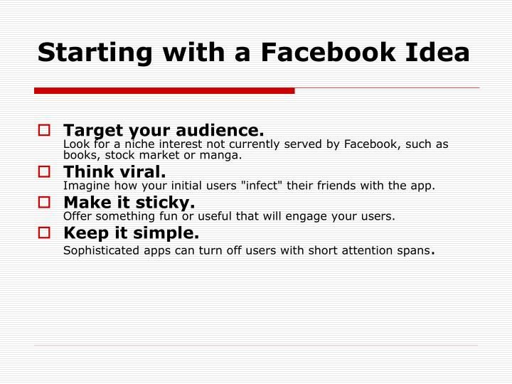 Starting with a Facebook Idea