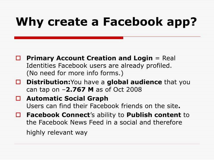 Why create a facebook app