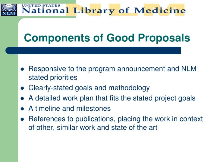 Components of Good Proposals