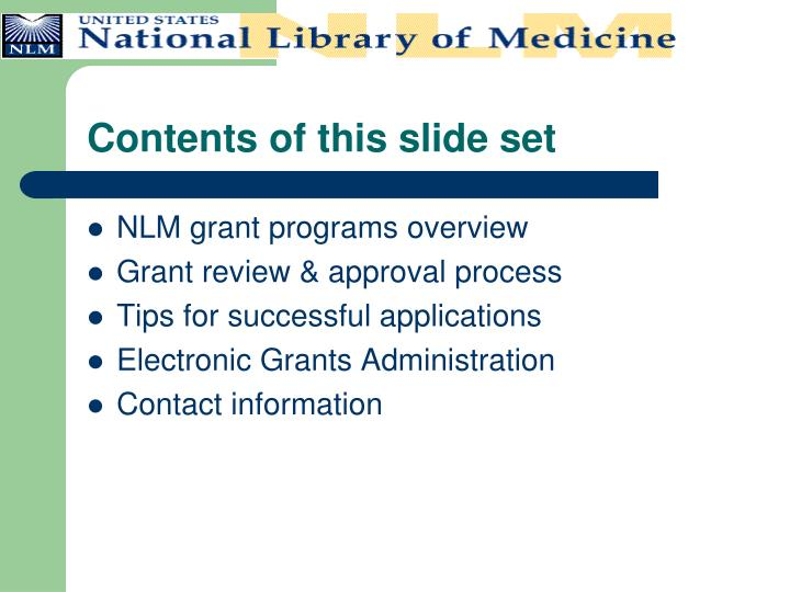 Contents of this slide set