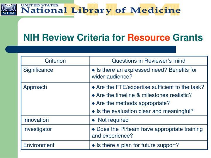 NIH Review Criteria for