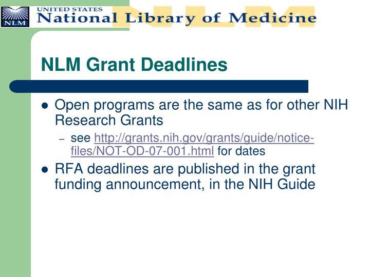 NLM Grant Deadlines