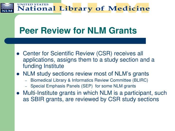 Peer Review for NLM Grants