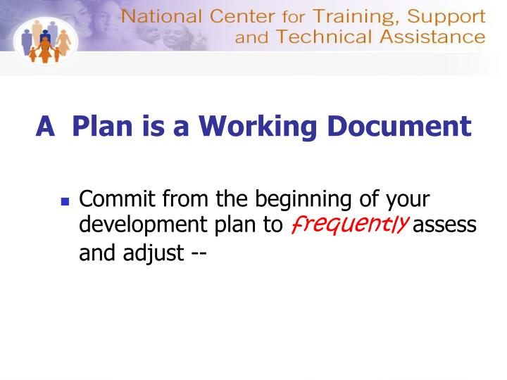 A  Plan is a Working Document