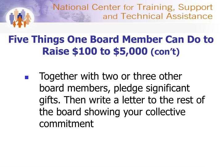 Five Things One Board Member Can Do to Raise $100 to $5,000