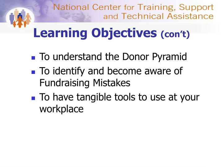 Learning objectives con t