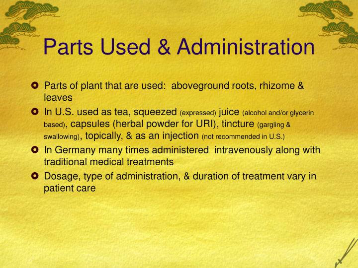 Parts Used & Administration