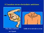 1 luxation sterno claviculaire ant rieure