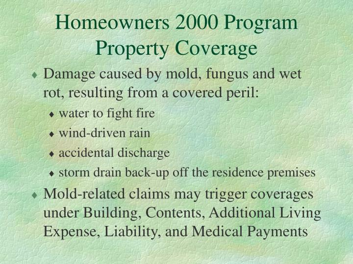 Homeowners 2000 Program  Property Coverage