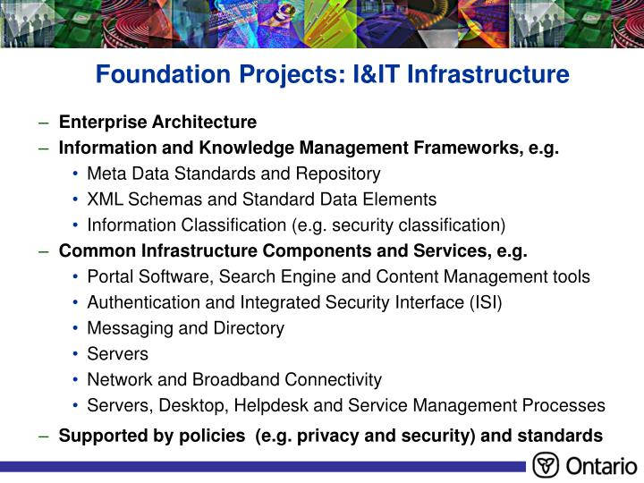 Foundation Projects: I&IT Infrastructure