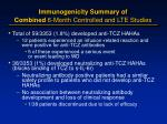 immunogenicity summary of combined 6 month controlled and lte studies