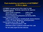 post marketing surveillance of actemra in ra in japan