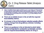 ex 2 drug release tablet analysis cont1