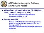 uspto written description guidelines examples and notices