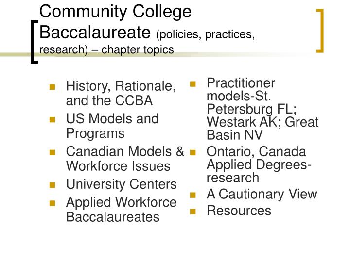 Community college baccalaureate policies practices research chapter topics