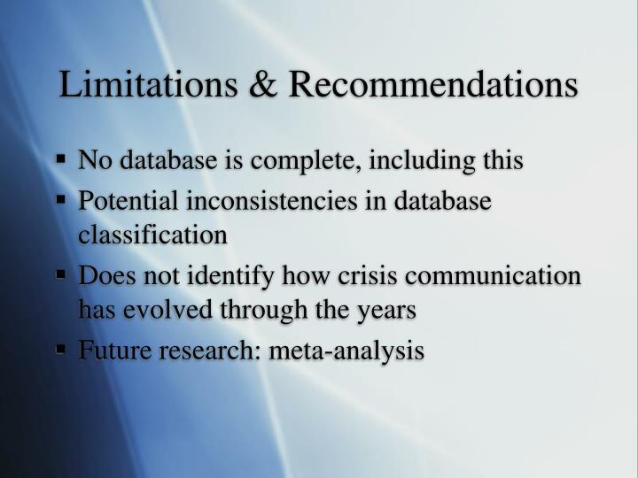 Limitations & Recommendations