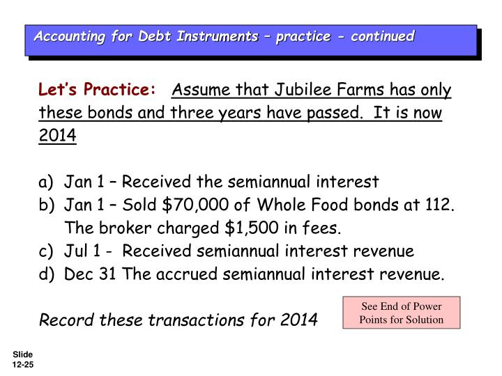 Accounting for Debt Instruments – practice - continued