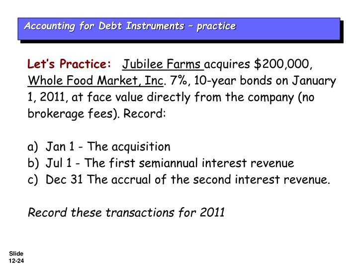 Accounting for Debt Instruments – practice