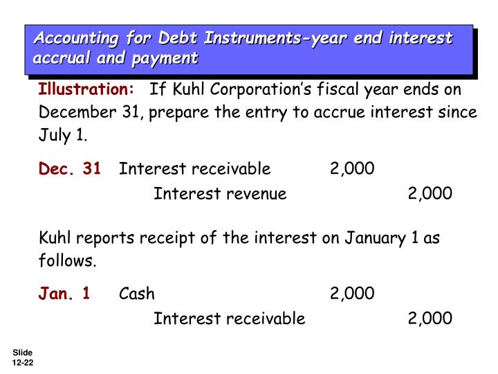 Accounting for Debt Instruments-year end interest accrual and payment