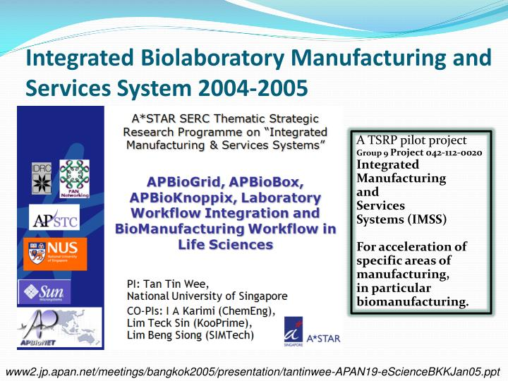 Integrated Biolaboratory Manufacturing and Services System 2004-2005