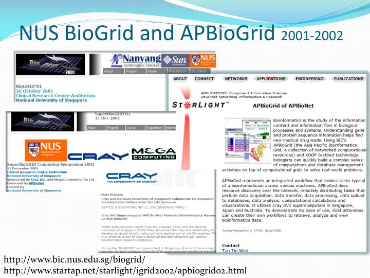 Nus biogrid and apbiogrid 2001 2002
