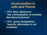 incarceration in jails and prisons