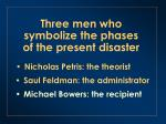 three men who symbolize the phases of the present disaster2