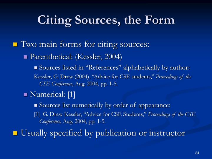 Citing Sources, the Form