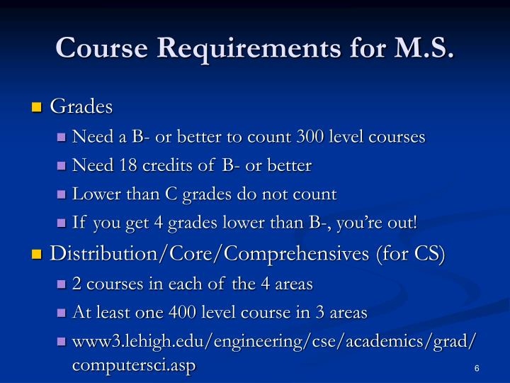 Course Requirements for M.S.