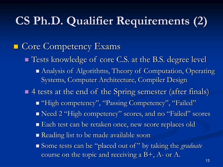 CS Ph.D. Qualifier Requirements (2)