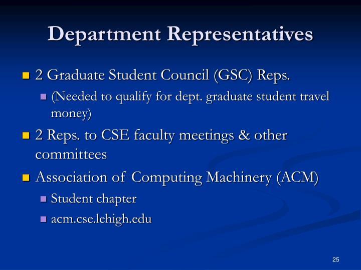Department Representatives
