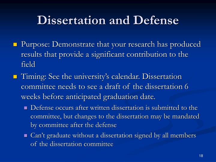 Dissertation and Defense