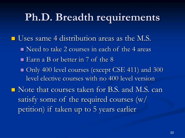 Ph.D. Breadth requirements