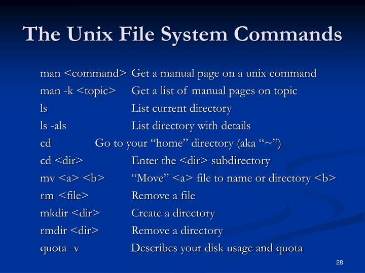 The Unix File System Commands