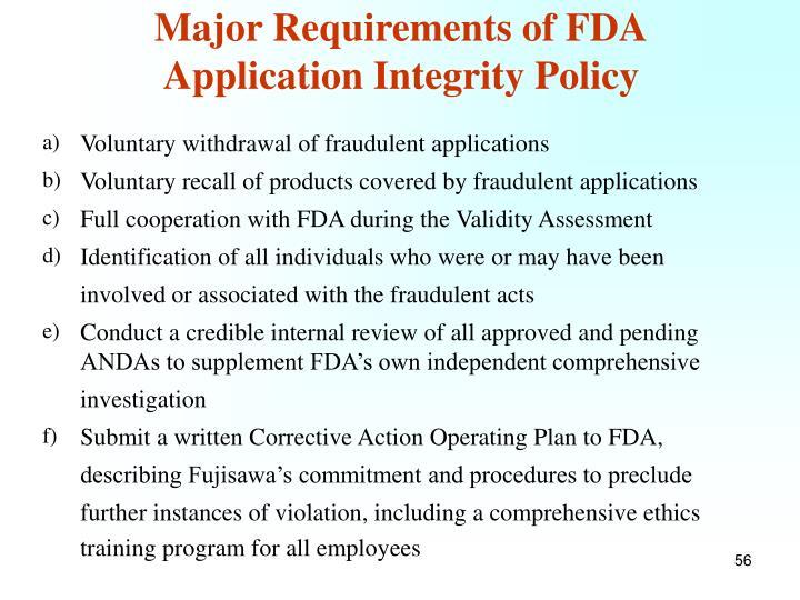 Major Requirements of FDA