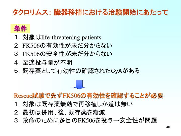 タクロリムス: 臓器移植における治験開始にあたって