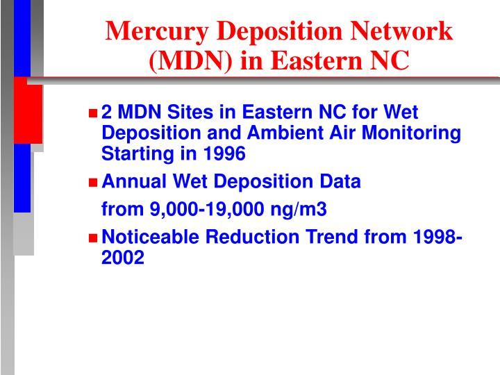 Mercury Deposition Network (MDN) in Eastern NC