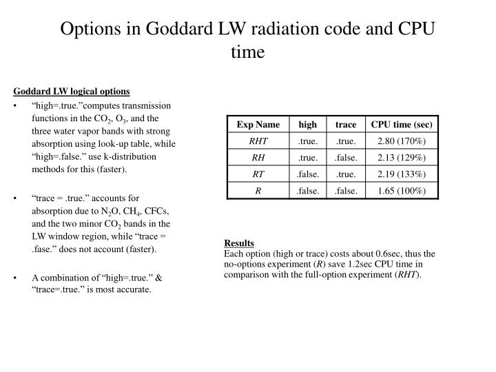 Options in Goddard LW radiation code and CPU time