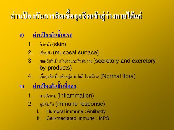ด่านป้องกันการติดเชื้อจุลชีพเข้าสู่ร่างกายได้แก่