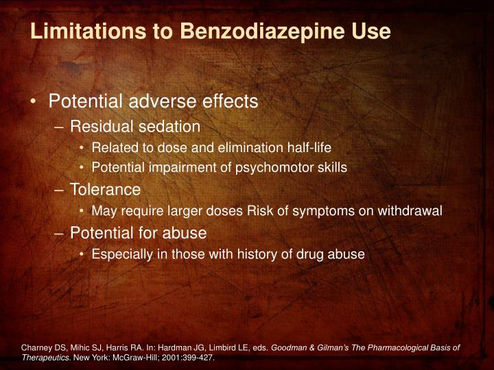 Limitations to Benzodiazepine Use