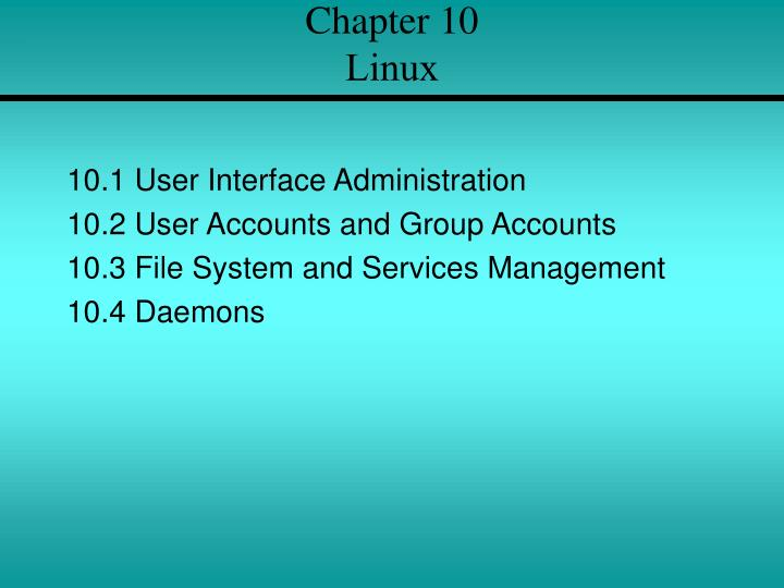 chapter 10 linux n.
